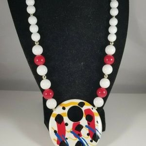 Vintage Red White Graphic Pendant Necklace 1980s